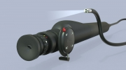 Endoscope with light activated